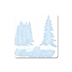 Winter Snow Trees Forest Square Magnet