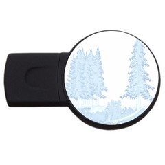 Winter Snow Trees Forest USB Flash Drive Round (1 GB)