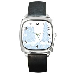 Winter Snow Trees Forest Square Metal Watch
