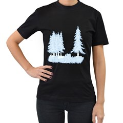 Winter Snow Trees Forest Women s T Shirt (black) (two Sided)