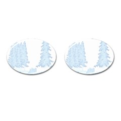 Winter Snow Trees Forest Cufflinks (oval)