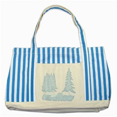 Winter Snow Trees Forest Striped Blue Tote Bag