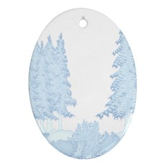 Winter Snow Trees Forest Oval Ornament (two Sides)