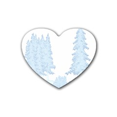 Winter Snow Trees Forest Rubber Coaster (Heart)