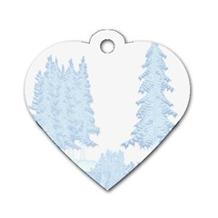 Winter Snow Trees Forest Dog Tag Heart (one Side)