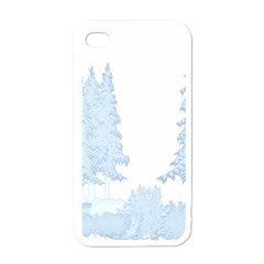 Winter Snow Trees Forest Apple iPhone 4 Case (White)