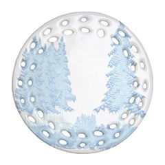 Winter Snow Trees Forest Round Filigree Ornament (two Sides)