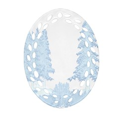 Winter Snow Trees Forest Oval Filigree Ornament (two Sides)