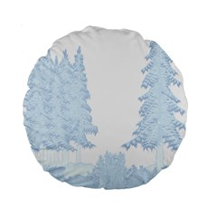 Winter Snow Trees Forest Standard 15  Premium Round Cushions