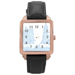 Winter Snow Trees Forest Rose Gold Leather Watch