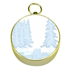 Winter Snow Trees Forest Gold Compasses