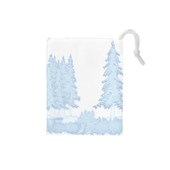 Winter Snow Trees Forest Drawstring Pouches (small)