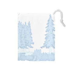 Winter Snow Trees Forest Drawstring Pouches (Medium)