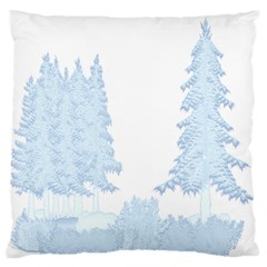 Winter Snow Trees Forest Large Flano Cushion Case (One Side)