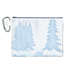 Winter Snow Trees Forest Canvas Cosmetic Bag (L)
