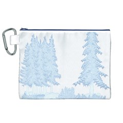 Winter Snow Trees Forest Canvas Cosmetic Bag (xl)