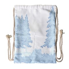 Winter Snow Trees Forest Drawstring Bag (Large)