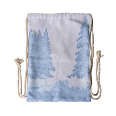 Winter Snow Trees Forest Drawstring Bag (small)