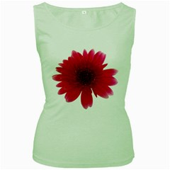 Flower Isolated Transparent Blossom Women s Green Tank Top