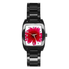Flower Isolated Transparent Blossom Stainless Steel Barrel Watch