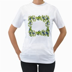 Birthday Card Flowers Daisies Ivy Women s T-Shirt (White) (Two Sided)