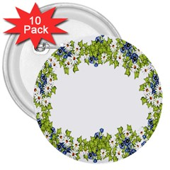 Birthday Card Flowers Daisies Ivy 3  Buttons (10 Pack)