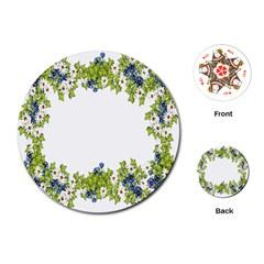 Birthday Card Flowers Daisies Ivy Playing Cards (round)