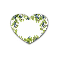 Birthday Card Flowers Daisies Ivy Rubber Coaster (heart)