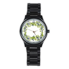 Birthday Card Flowers Daisies Ivy Stainless Steel Round Watch