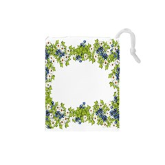 Birthday Card Flowers Daisies Ivy Drawstring Pouches (small)