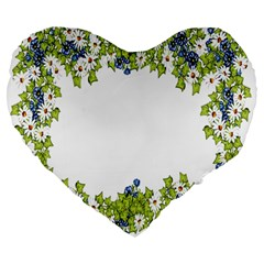 Birthday Card Flowers Daisies Ivy Large 19  Premium Flano Heart Shape Cushions