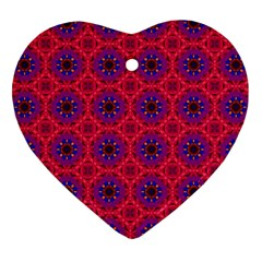 Retro Abstract Boho Unique Heart Ornament (two Sides)