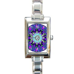 Graphic Isolated Mandela Colorful Rectangle Italian Charm Watch