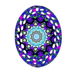 Graphic Isolated Mandela Colorful Oval Filigree Ornament (Two Sides)