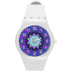 Graphic Isolated Mandela Colorful Round Plastic Sport Watch (m)