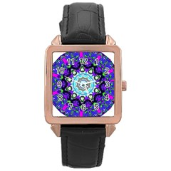 Graphic Isolated Mandela Colorful Rose Gold Leather Watch