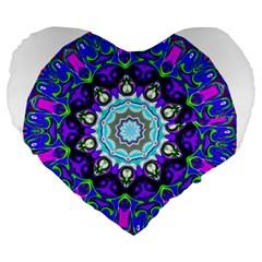 Graphic Isolated Mandela Colorful Large 19  Premium Flano Heart Shape Cushions
