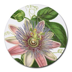 Passion Flower Flower Plant Blossom Round Mousepads