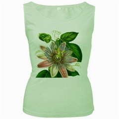 Passion Flower Flower Plant Blossom Women s Green Tank Top
