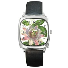Passion Flower Flower Plant Blossom Square Metal Watch