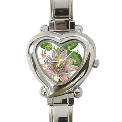 Passion Flower Flower Plant Blossom Heart Italian Charm Watch
