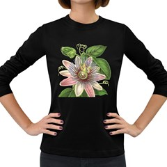 Passion Flower Flower Plant Blossom Women s Long Sleeve Dark T Shirts