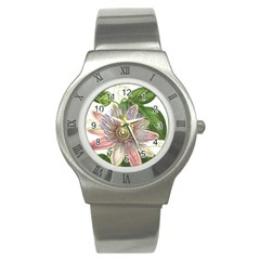 Passion Flower Flower Plant Blossom Stainless Steel Watch