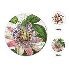 Passion Flower Flower Plant Blossom Playing Cards (Round)