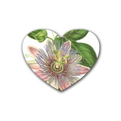 Passion Flower Flower Plant Blossom Rubber Coaster (heart)