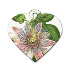 Passion Flower Flower Plant Blossom Dog Tag Heart (two Sides)