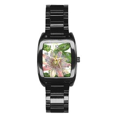 Passion Flower Flower Plant Blossom Stainless Steel Barrel Watch