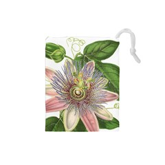 Passion Flower Flower Plant Blossom Drawstring Pouches (Small)