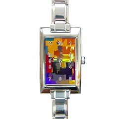 Abstract Vibrant Colour Rectangle Italian Charm Watch