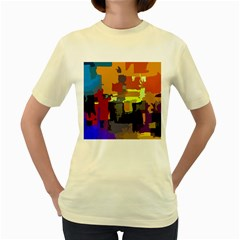 Abstract Vibrant Colour Women s Yellow T-Shirt